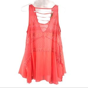 Neon Coral Pink Lace Chiffon Top
